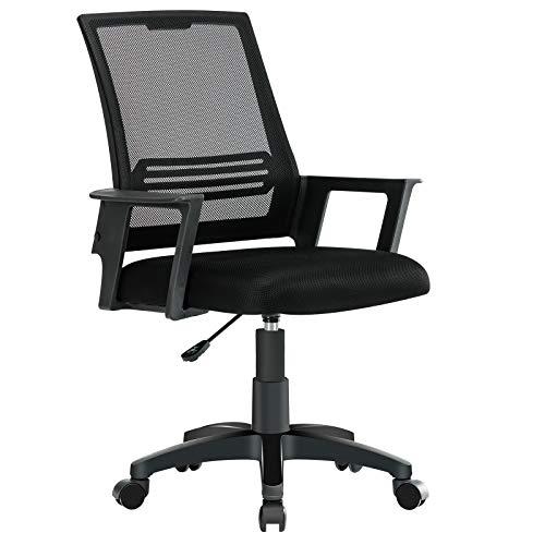 JL Comfurni Bürostuhl Ergonomischer Schreibtischstuhl Mesh Netz Drehstuhl Höhenverstellbar Chefsessel mit Mesh Sitzkissen Schwarz