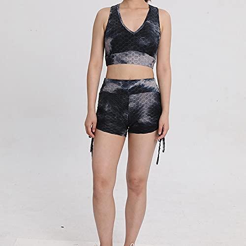 Leggings Sexy,Europa y los Estados Unidos nuevos burbujas jacquard chaleco pantalones cortos traje deportes dibujar cuerda pantalones de yoga vestido de aderezo impresión femenina de belleza tiras-Ne