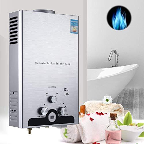 Novhome LPG Warmwasserbereiter 18L, Propangas Durchlauferhitzer Automatische Zündung Rostfreier Stahl, Wand-Warmwasserbereiter mit Duschkopf-Kit