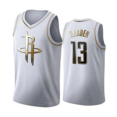 Camiseta de Baloncesto para Hombre Rockets No.13 Jersey Camiseta Blanca Camiseta de Manga Corta con Chaleco Informal, L