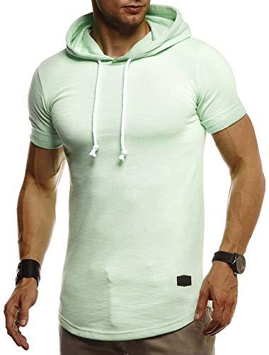 Leif Nelson Herren Sommer T-Shirt mit Kapuze Slim Fit Baumwolle-Anteil Cooles Basic Männer T-Shirt Kapuzenshirt Jungen Kurzarmshirt Kurzarm Lang LN8317 Mint X-Large