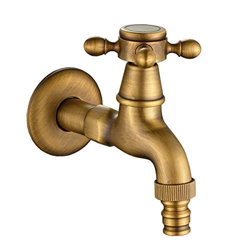 TOPBATHY - Grifo para lavabo de agua fría (latón, estilo retro, para pared)
