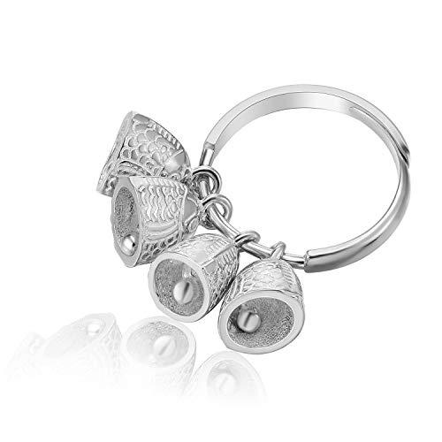Lotus Fun S925 - Anello etnico vintage in argento Sterling con pesciolini in stile etnico, creativo, realizzato a mano, gioiello unico per donne e ragazze