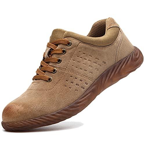 WCXTY Hombres Respirable Zapatos de Trabajo Zapatos de Seguridad Resistente a los pinchazos Zapatos con Punta de Acero Mujer Zapatillas de Trail Running Resistente al Desgaste