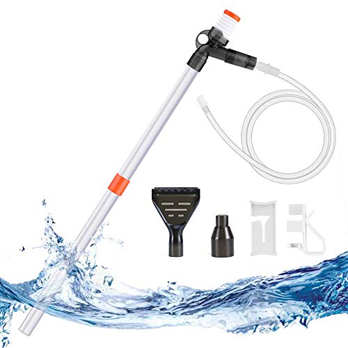 KASAN Gravel Cleaner Pump Aquarium Long Nozzle Cleaning Kit Tool, Aquarium Siphon for Cleaning Sand. with a Pneumatic Button Adjustment Control, it is a Vacuum Cleaner for Aquarium