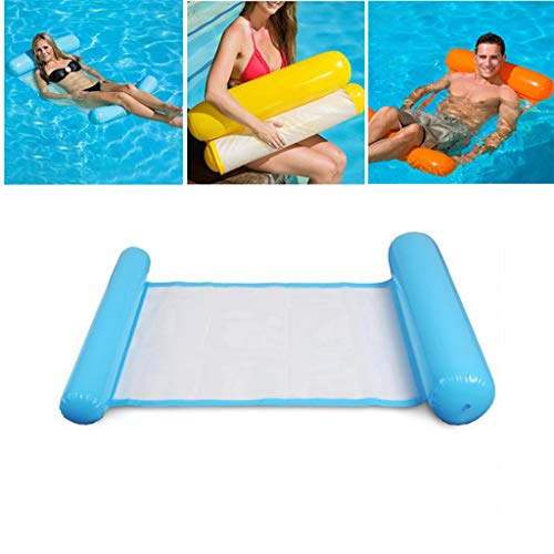 LCYCN Aufblasbarer,Single People Swimming Pool Float Hammock, Pool Inflatable Rafts Lounger mit 1 Pedal Air Pump, Summer Water Toys,C,130X70CM