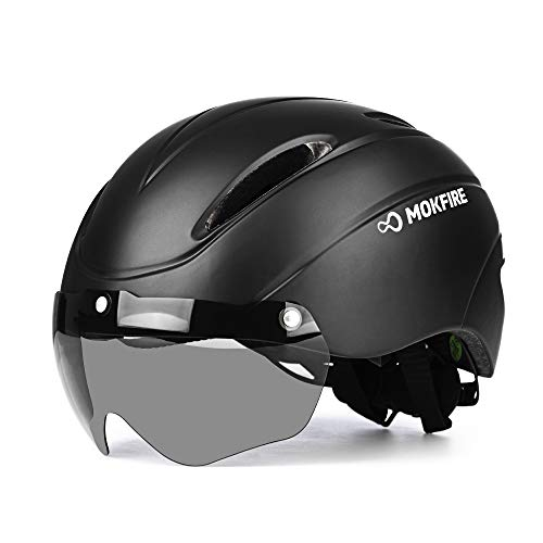 MOKFIRE Adult Bike Helmet with Removable Magnetic Goggles, Adjustable Mountain & Road Cycling Helmet for Adult Men/Women Size 22.44-24.4 Inches
