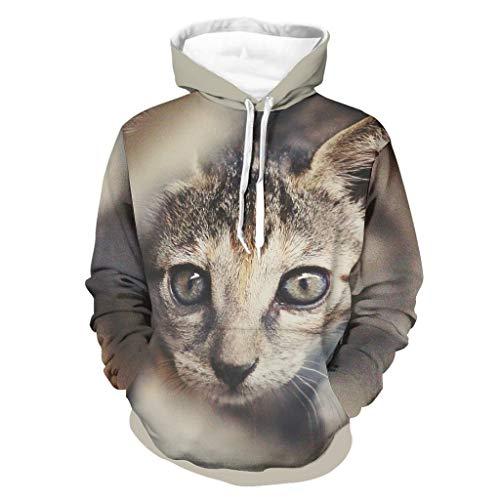 Mentmate Store Herren Hoodies Abessinierkatze Funny Stylish leicht - Pet Cat Muster Pullover White l