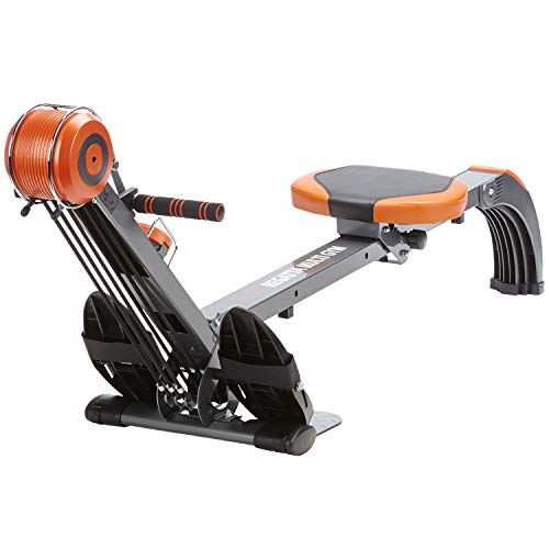 Skandika Poseidon Regatta Rowing Machine, Home Rower Multi-Gym with Adjustable Resistance, Multi-Functional Computer, Foldable (Orange/grey)