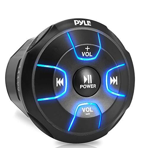 Amplified Wireless Bluetooth Audio Controller - 300 Watt Bluetooth Media Button, Waterproof Marine Receiver Remote Control W/Aux, Mount for Car Truck Boat Marine Powersport Vehicles - Pyle PLMRBT18
