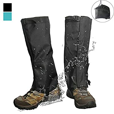 Frelaxy Leg Gaiters 900D Ultra Strong Waterproof Hiking Gaiters Snow Boot Gaiters Anti-Tear Oxford Fabric for Outdoor Walking Hunting Motorcycle for Men & Women (Black, M)