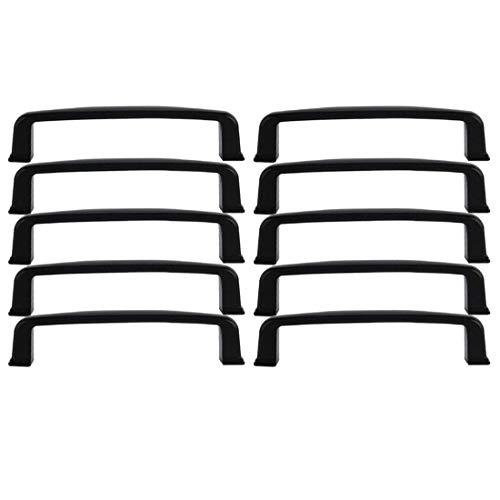 YeVhear - Lote de 10 tiradores de armario de aleación de aluminio, pintura de 5 pulgadas, orificio central para cajón, muebles, puertas y armarios, color negro