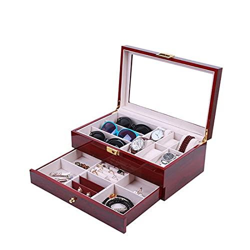 AP.DISHU Moda Creativa Nueva Pintura Roja Reloj De 6 Dígitos Gafas De 3 Dígitos Pulsera De Doble Capa Anillo Caja De Almacenamiento De Reloj De Joyería, 34 * 21 * 14CM