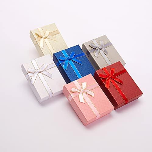 HFDJ (Paquete de 10 Paquetes) Caja de Embalaje de joyería con Lazo de Alta Gama Caja de Anillo Pendientes Caja de Almacenamiento de joyería Caja de Papel Creativa Caja de Regalo con Cubierta Mundial