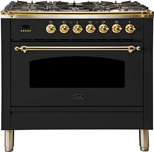 Ilve UPN90FDMPM Nostalgie Series 36 Inch Dual Fuel Convection Freestanding Range, 5 Sealed Brass Burners, 3.55 cu.ft. Total Oven Capacity in Matte Graphite, Brass Trim (Natural Gas)