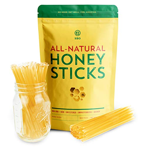 SBO Honey Sticks - 200 Count of Raw Unfiltered Non-GMO Single Serve Pure Honey Stick Packets for Tea and Snacks - Made in the USA