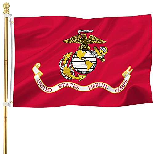 US Marine Corps USMC Military Flags 3x5 Outdoor- US Marine Army Flags with Super Durable Double Stitched and 2 Brass Grommets