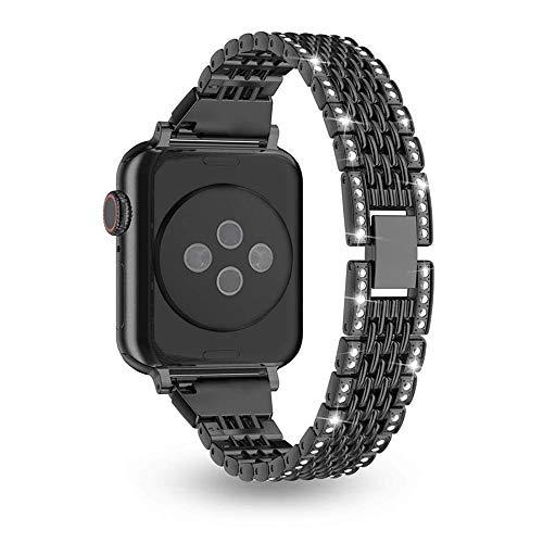 Myada Compatible per Apple Watch Series 3 42mm Cinturino Acciaio, Cinturino Apple Watch Series 4 44mm Braccialetto di Ricambio Inossidabile Orologio da Polso Band Donna per iWatch Series 4/3/2/1