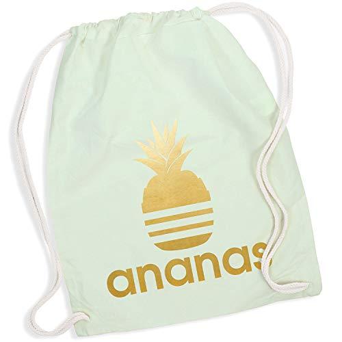 Shirt-Panda Turnbeutel mit Ananas Motiv Hipster Sport Jute Tasche Gym Bag Spruch Baumwolle Pastell Mint (Druck Gold)