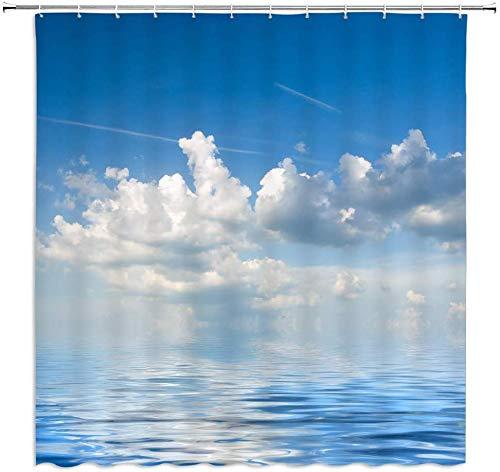 MMPTn Cloud Ocean Duschvorhänge schönen Himmel Meer blau weiß Badezimmer Vorhang Dekoration Polyester Stoff wasserdicht 71 x 71 Zoll Polyester beinhaltet zwölf Kunststoffhaken