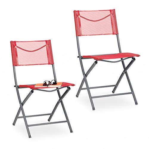 Relaxdays Gartenstuhl 2er Set, Klappstuhl für Garten, Balkon, Terrasse, Metall Campingstuhl bis 120kg, wetterfest, rot