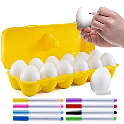 Prextex 12 Maracas Egg Shakers Musical Percussion Toy - 12 White Plastic Easter Eggs in Carton with 8 Color Markers – Great Rhythm Learning Toy for Kids, DIY Painting, Easter Gift and Easter Egg Hunts