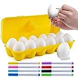 PREXTEX 12 Juguete de percusión Musical Maracas Egg Shakers - 12 Huevos de Pascua de plástico Blanco en cartón con 8 marcadores de Color - Gran Juguete de Aprendizaje de Ritmo para niños