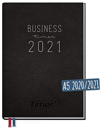 Chäff Business-Timer 2020/2021 A5 schwarz | Wochenplaner 18 Monate: Jul 2020 - Dez 2021 | Wochenkalender, Organizer, Terminkalender für perfektes Zeitmanagement | klimaneutral und nachhaltig