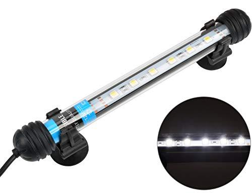 NICREW Weiß Leuchte LED Aquarium Beleuchtung, Aquarium Tauchlampen 3W 28cm Unterwasser Kristallglas Leuchten, LED Aquarium Licht Lampe geeignet für Salzwasser und Süßwasser