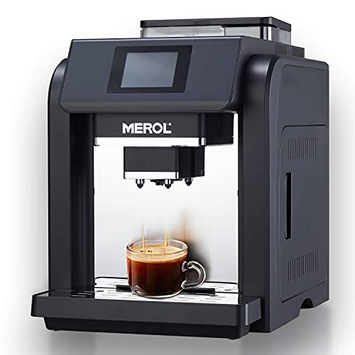 MEROL Automatic Espresso Coffee Machine, Programmable 19-Bar Pressure Pump Coffee Maker, Burr Grinder, with Milk Frother for Cafe Americano, Latte and Cappuccino Drinks, Black