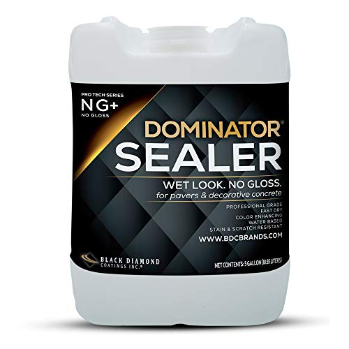 5 Gallon DOMINATOR NG+ No Gloss Wet Look Paver Sealer and Decorative Concrete Sealer – Solvent Free, Twice The Coverage Rate (up to 400 sq ft), Color Enhancing and Maximum UV Protection Against Fading