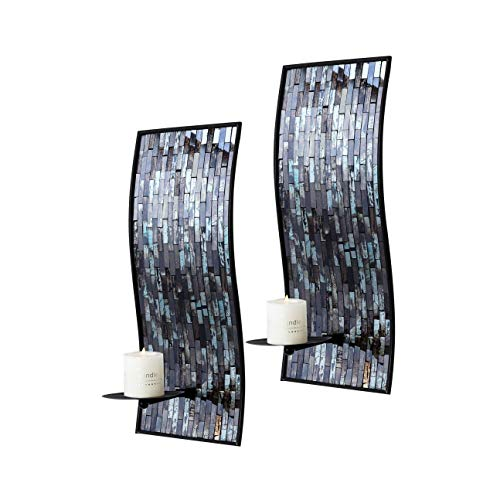Whole Housewares Decorative Metal Wall Candle Sconces, Wall Candle Holders - Mosaic Glass Set of 2 (Blue/Brown)