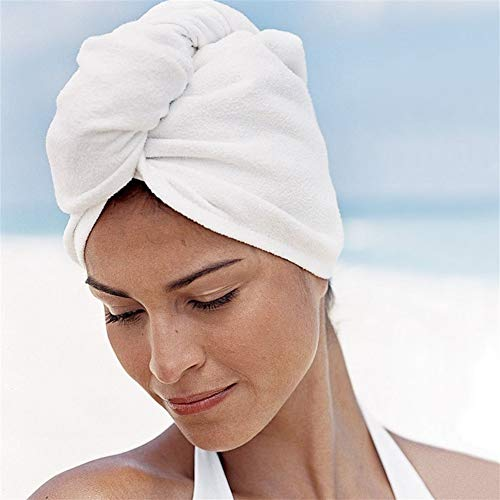 No branded Wrap Cap Douche Cheveux Cheveux Microfibre sèche-Serviettes Wrap Turban tête Chapeau Douche Sec Microfibre Bun Cap Pure Color Pratique (Color : Blanc, Size : One Size)