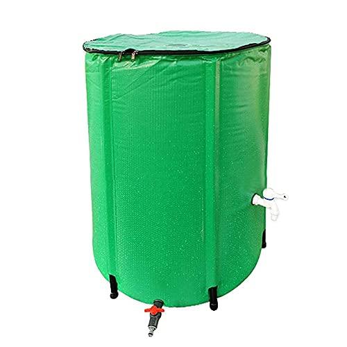 YAYADU-Storage Basket Barril De Lluvia Portátil, Contenedor De Agua De Lluvia Plegable, PVC con Dos Grifos Y Kit De Desbordamiento para Jardines, Invernaderos, Patio Trasero, Fácil De Usar