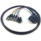Omera Euroconector de 0,5 m RGB a 4 RGB BNC y 2 adaptadores RCA, cable de audio y vídeo, para monitores Sony PVM serie BVM, JVC Serie TM-H1750CG TM-H1950CG, consola de CD Neo Geo, etc.