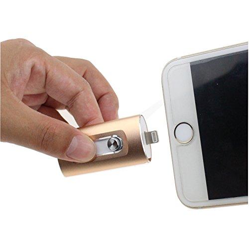 Escomdp USB Flash Drive per i Phone 5 6 7 Plus Chiavetta USB PenDrive Memory Stick, i O S Telefono Cellulare Android e Computer (64GB, Oro)