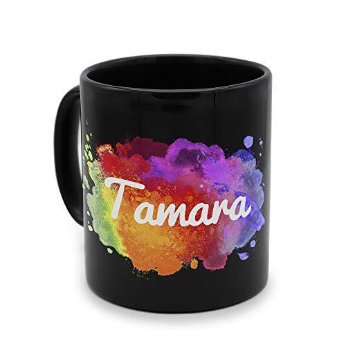 printplanet - Tasse Schwarz mit Namen Tamara - Motiv: Color Paint - Namenstasse, Kaffeebecher, Mug, Becher, Kaffeetasse