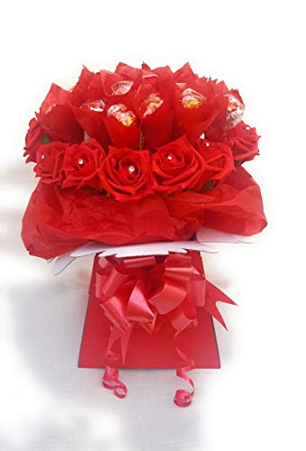 Chocolate Bouquet Red Lindt Lindor & Flowers - Sweet Gift Hamper