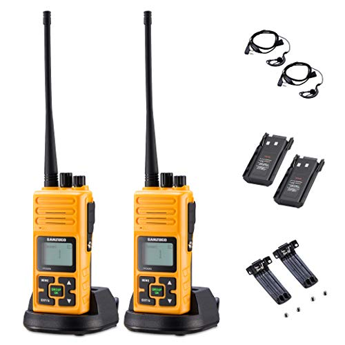 Sanzuco Long Range Rechargeable Two-Way Radio with Headset, Handheld Reprogrammable Walkie Talkie with Announcement Function, 3000mAh Li-Battery, Dock Charger Included (Orange, 2 Pack)