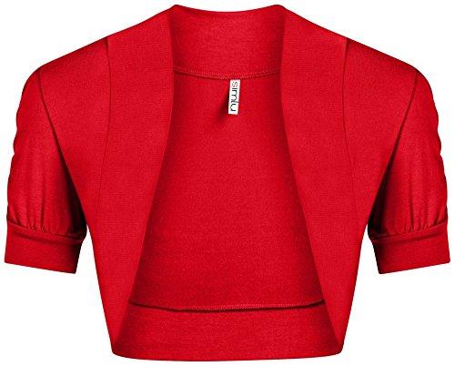Simlu Red Shrug for Women Plus Size and Regular Size Short Gathered Sleeve Red Bolero Jacket,Red,XXX-Large