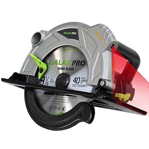 Handkreissäge, GALAX PRO Professional Kreissäge 2000W 5000RPM mit Laser maximale Schnitttiefe 85mm (90°) und 56mm (45°), (40T 235mm) Klinge zum Schneiden von Holz, Kunststoff, Weichmetall