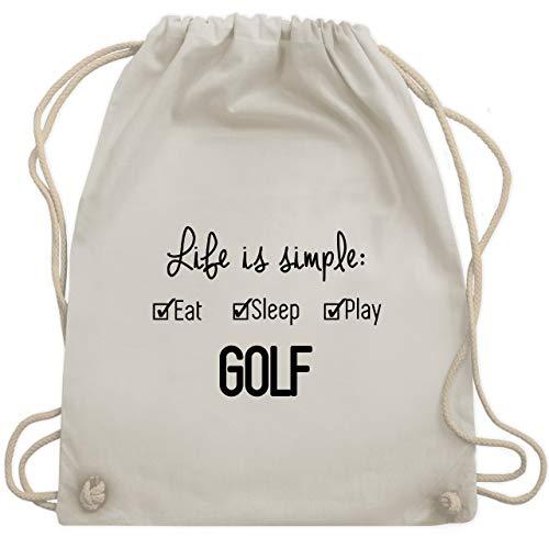 Shirtracer Golf - Life ist simple Golf - Unisize - Naturweiß - adventskalender golfer - WM110 - Turnbeutel und Stoffbeutel aus Baumwolle