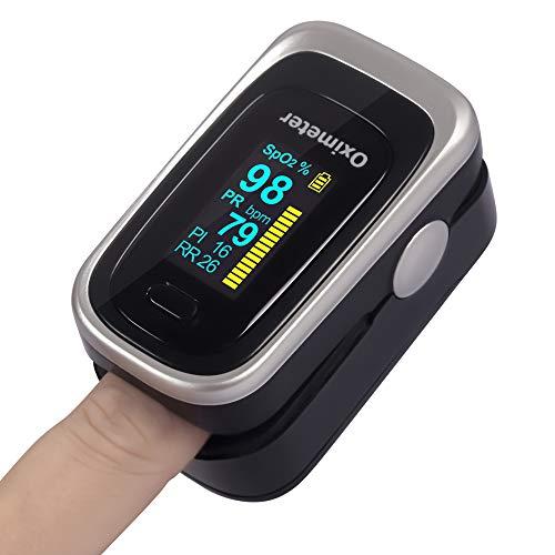 OIOSEN 4 en 1 Oxímetro de Pulso de Dedo, Monitor de frecuencia respiratoria y saturación de oxígeno en Sangre Aprobado por la FDA para el Uso en niños y Adultos (Baterías y cordón incluidos)