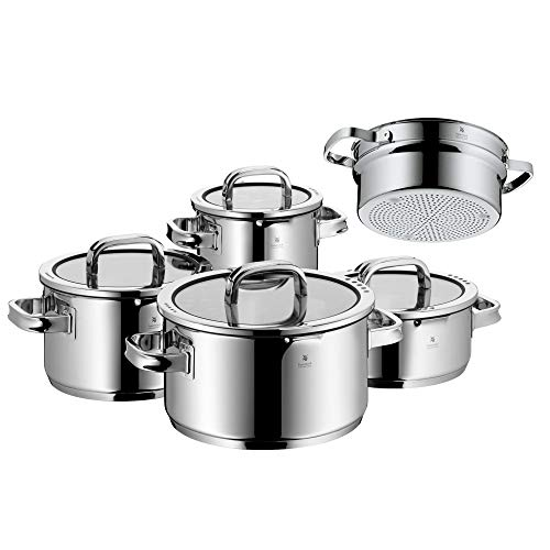 WMF 761056380 Function 4 Cookware Set with Steamer Insert, Stainless Steel, Transparent, 20 cm, 5 Units