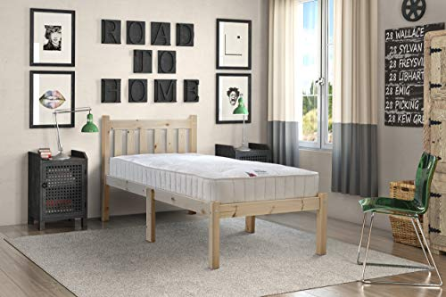 Strictly Beds and Bunks - Amelia Small Pine Bed Frame including Thick Sprung Mattress (15 cm), 2ft 6 (75cm) Single