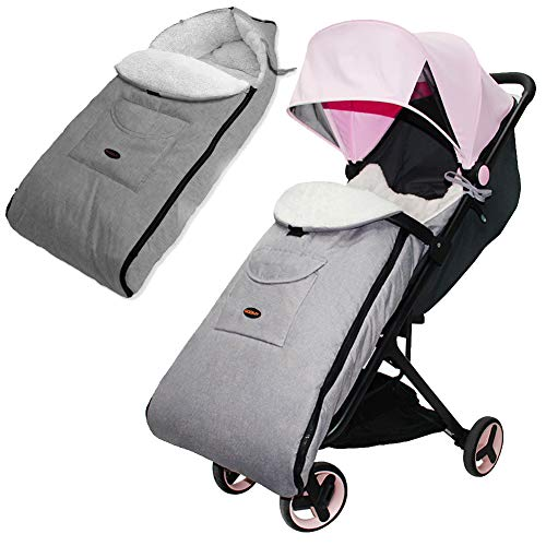 Winter Baby Footmuff - Baby Stroller Sleeping Bag Winter Windproof Foot Cover Linen Cushion Zipper Sleeping Bag Baby Carriage Mat Windproof Quilt Thickened And Velvet Suitable For Age 0-6 Year Old