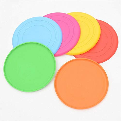QWERBAM Spielzeug for Hunde Flying Discs Silikon Outdoor Puppy Training Flying Discs Dog Fetch Spielzeug for Hundetraining Discs (Color : Random Color, Size : Diameter 18 cm)