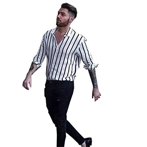 DNOQN Herren Hemden Langarm Achselshirt Männer Mode Shirts Beiläufige Lange Hülsen Gestreifte Oberseiten Lösen Beiläufige Bluse XL