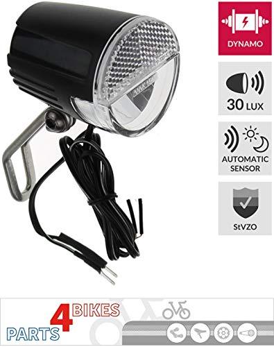 P4B koplamp fiets LED, 30 lux, standlicht, sensor (auto/aan/uit), voor naafdynamo, met Duitse StVZO, zwart