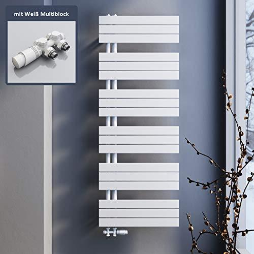 SONNI Badheizkörper 1590x600mm Handtuchtrockner Heizung weiß Flach Design Hantuchwärmer Bad Mittelanschluss seitlich 1593 Watt mit weißem Multiblock Thermostat
